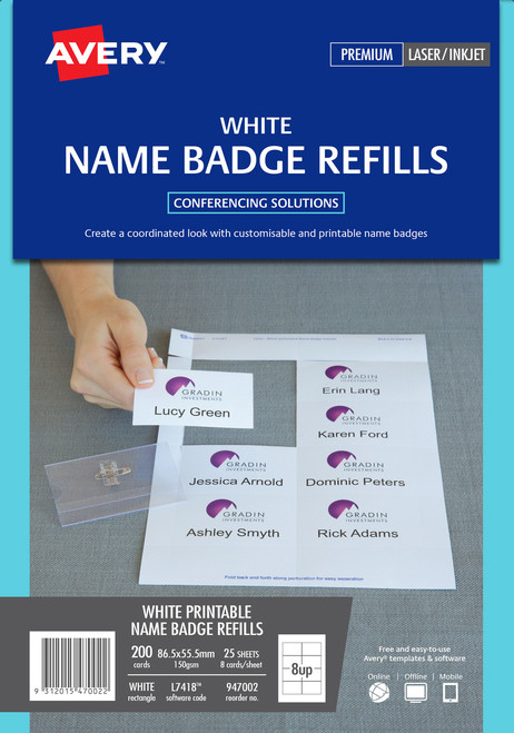 Avery Card Name Badges Refill, 86.5 x 55.5 mm, 200 Cards (947002 / L7418K)