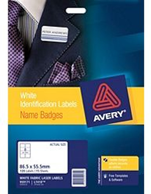 Avery Fabric Name Badge Labels for Laser Printers, 86.5 x 55.5 mm, 120 Labels (959171 / L7418)