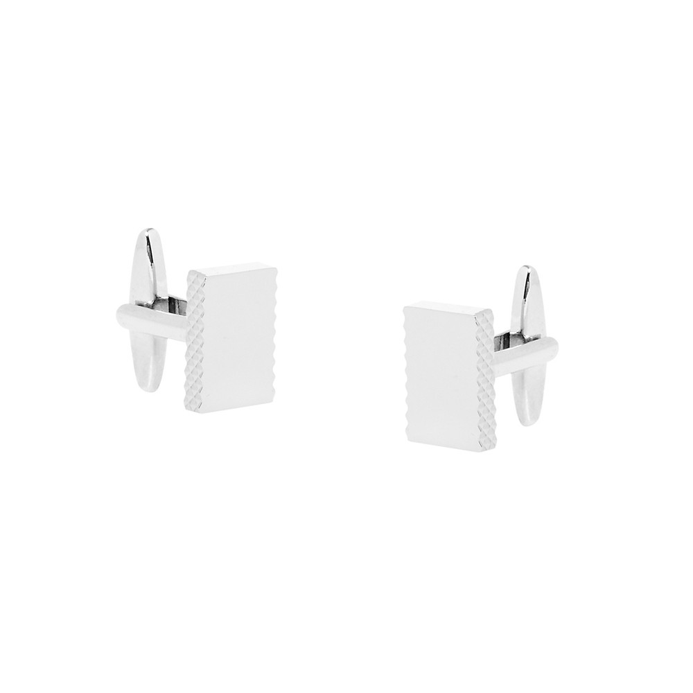 Rectangle Nickel Polished Edge Detail Cufflinks