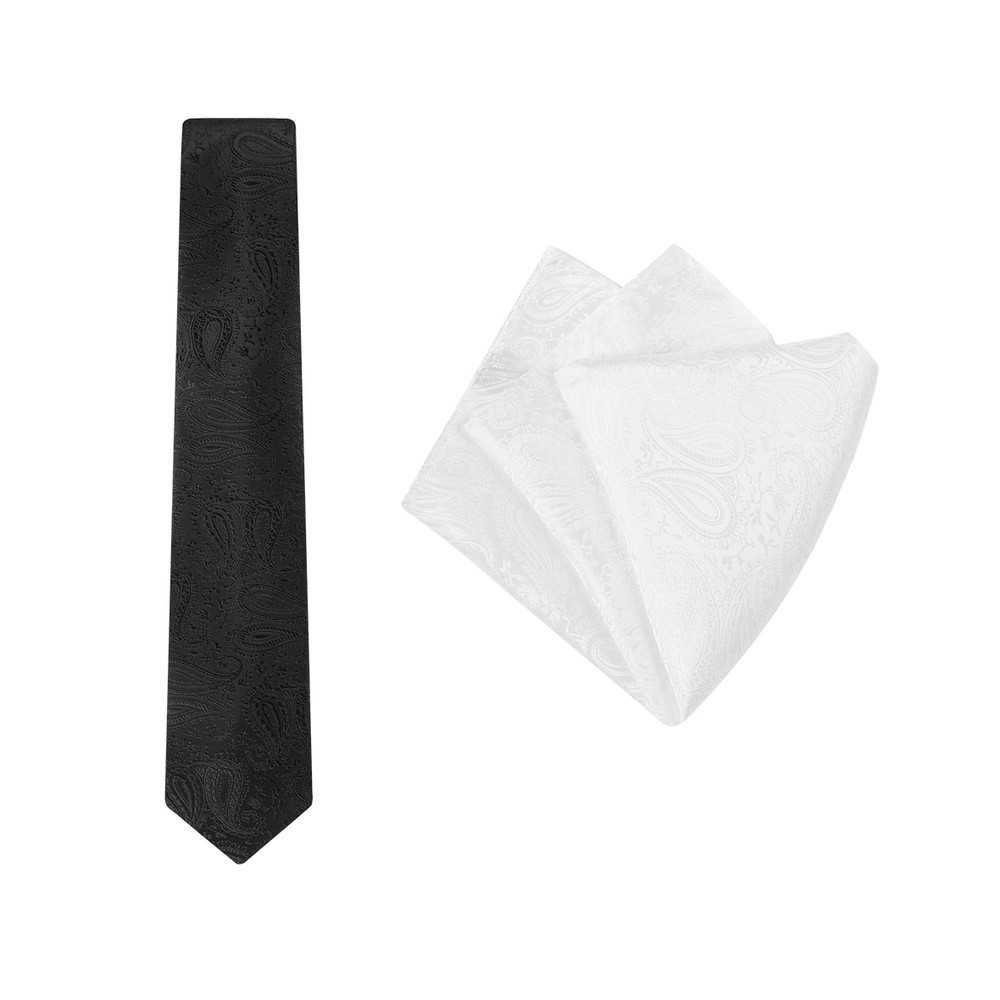 Tie + Pocket Square Set, Paisley, Black/White. Supplied with a white pocket square.