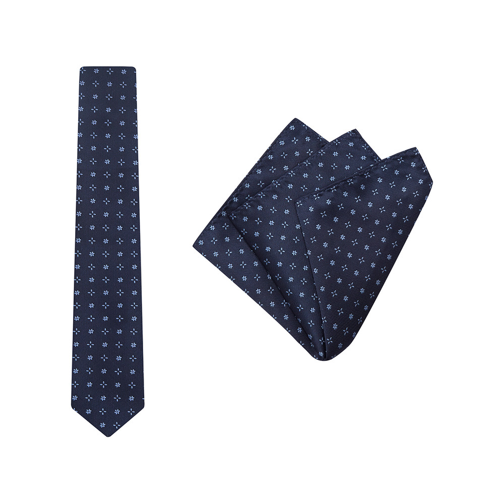 Tie + Pocket Square Set, Bloom, Navy. Supplied with matching pocket square.