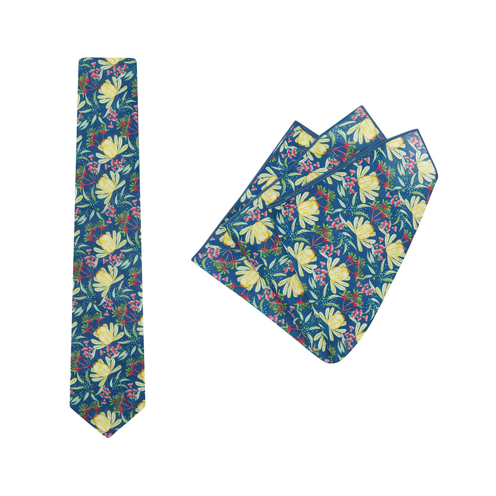 Tie + Pocket Square Set, Ali Wilkinson 2, Yellow. Supplied with matching pocket square.