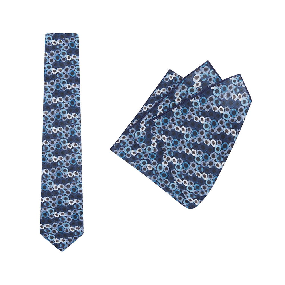 Tie + Pocket Square Set, Jocelyn Proust 3, Navy/Silver. Supplied with matching pocket square.