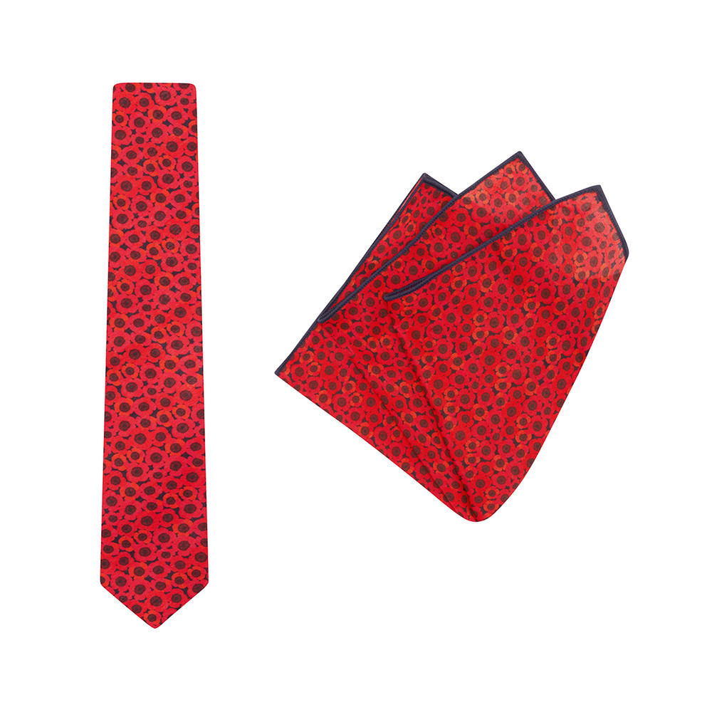 Tie + Pocket Square Set, Jocelyn Proust 3, Red/Navy. Supplied with matching red/navy pocket square.