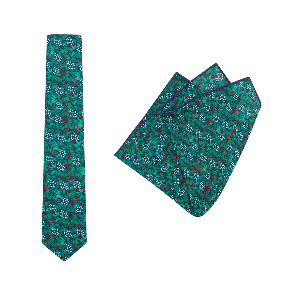 Tie + Pocket Square Set, Jocelyn Proust 4, Navy/Red. Supplied with matching pocket square.