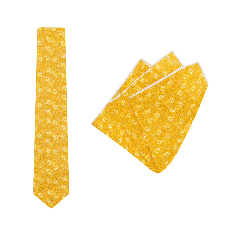Tie + Pocket Square Set, Jocelyn Proust 4, Gold. Supplied with matching gold pocket square.