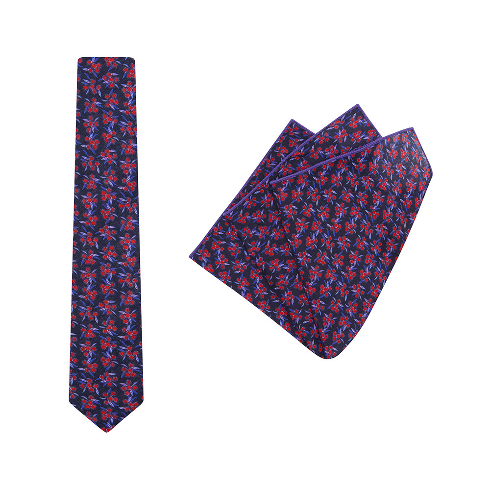 Tie + Pocket Square Set, Jocelyn Proust 5, Red/Navy. Supplied with matching pocket square.