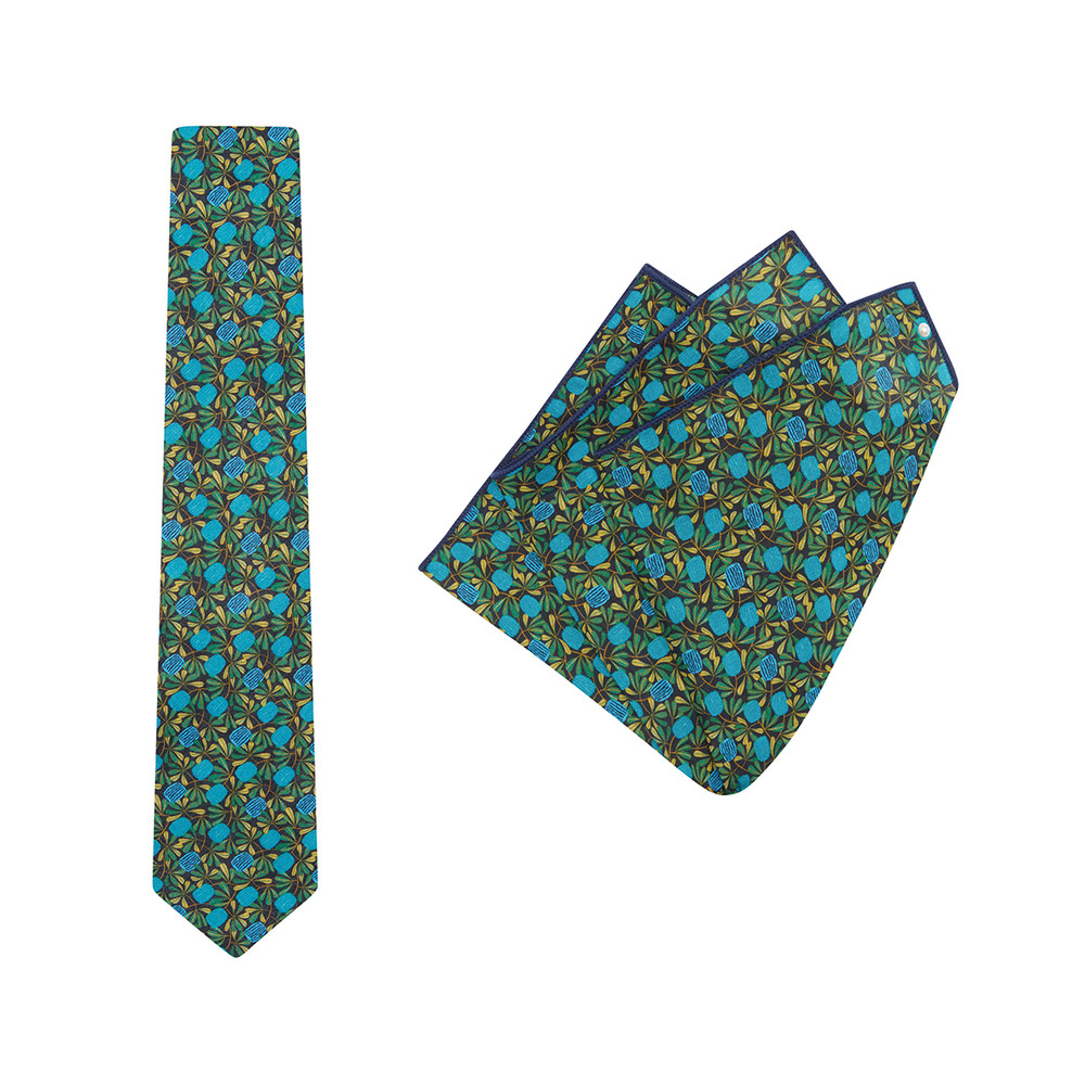 Tie + Pocket Square Set, Jocelyn Proust 6, Navy/Aqua. Supplied with matching pocket square.