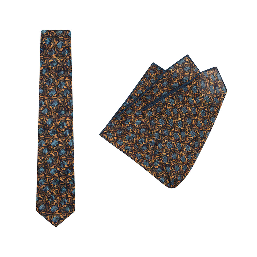 Tie + Pocket Square Set, Jocelyn Proust 6, Navy/Brown. Supplied with matching pocket square.