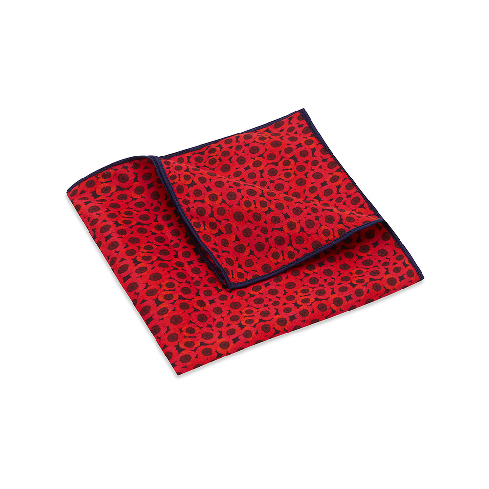Pocket Square, Jocelyn Proust 3, Red/Navy.