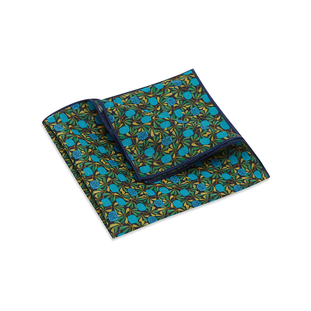 Pocket Square, Jocelyn Proust 6, Navy/Aqua.