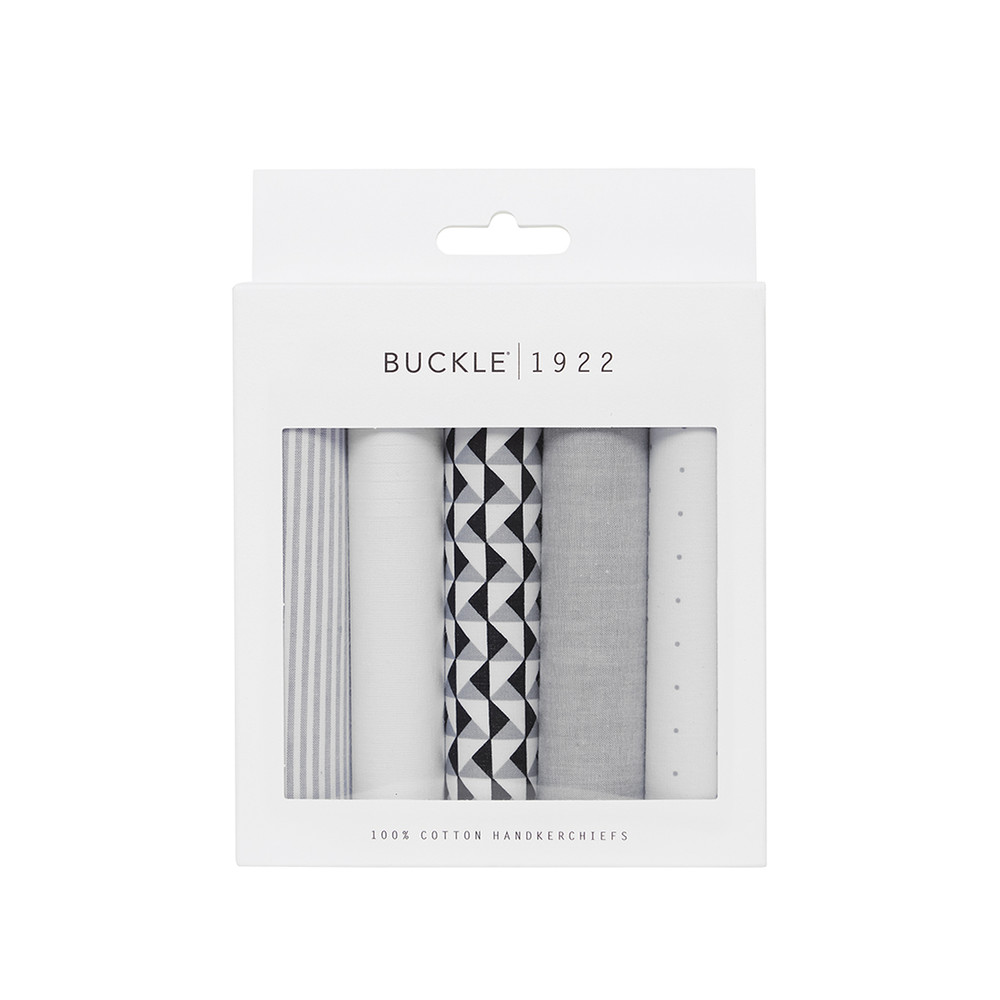 Grey and White Patterned Handkerchief Set