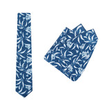 Tie + Pocket Square Set, Ali Wilkinson 1, Silver. Supplied with matching pocket square.