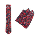 Tie + Pocket Square Set, Jocelyn Proust 1, Red/Navy. Supplied with matching pocket square.