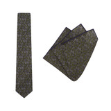Tie + Pocket Square Set, Jocelyn Proust 2, Olive. Supplied with matching pocket square.