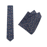 Tie + Pocket Square Set, Jocelyn Proust 4, Navy/Green. Supplied with matching navy/green pocket square.