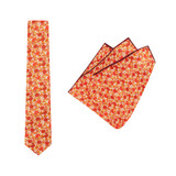 Tie + Pocket Square Set, Jocelyn Proust 6, Red/Beige. Supplied with matching pocket square.