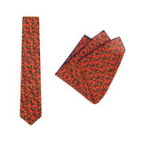 Tie + Pocket Square Set, Jocelyn Proust 6, Navy/Red. Supplied with matching pocket square.