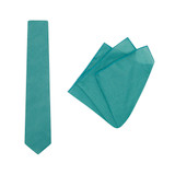 Tie + Pocket Square Set,  Teal. Supplied with matching pocket square.