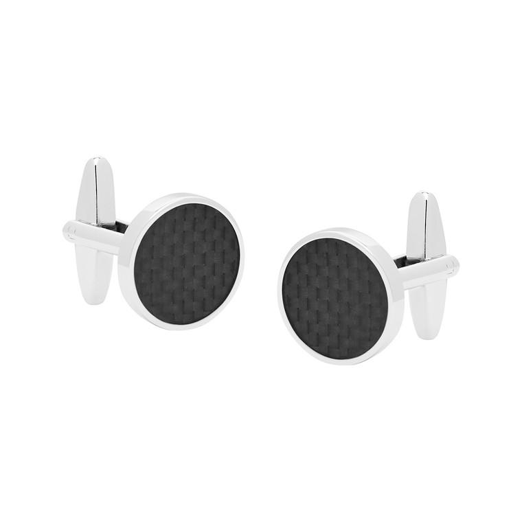 Black Carbon Round Cufflinks