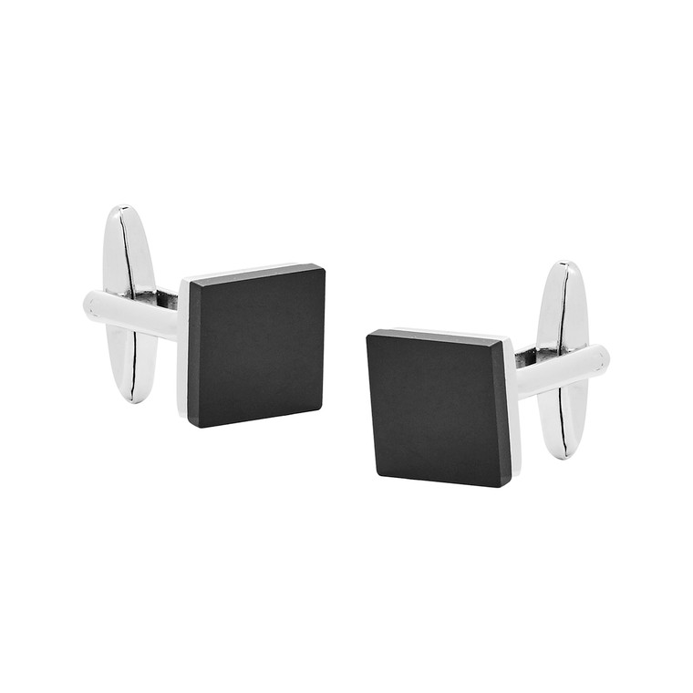 Nickel Polished Cufflinks with Black Glass