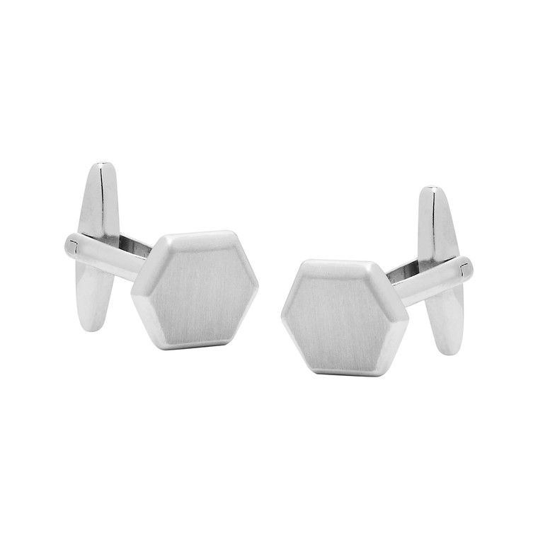 Nickel Hexagon Cufflinks