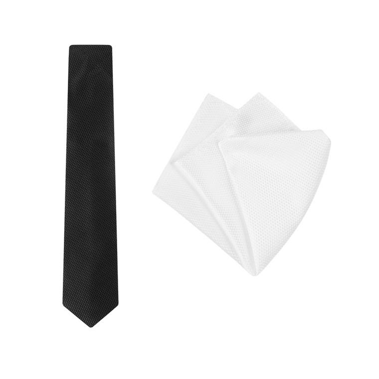 'carbon black tie and white pocket square set'