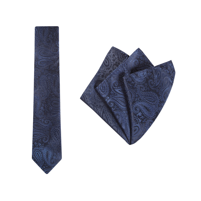 Tie + Pocket Square Set, Paisley, Navy
