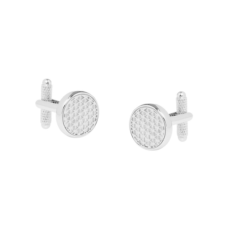 Round Nickel Polished Cufflinks with Mother of Pearl