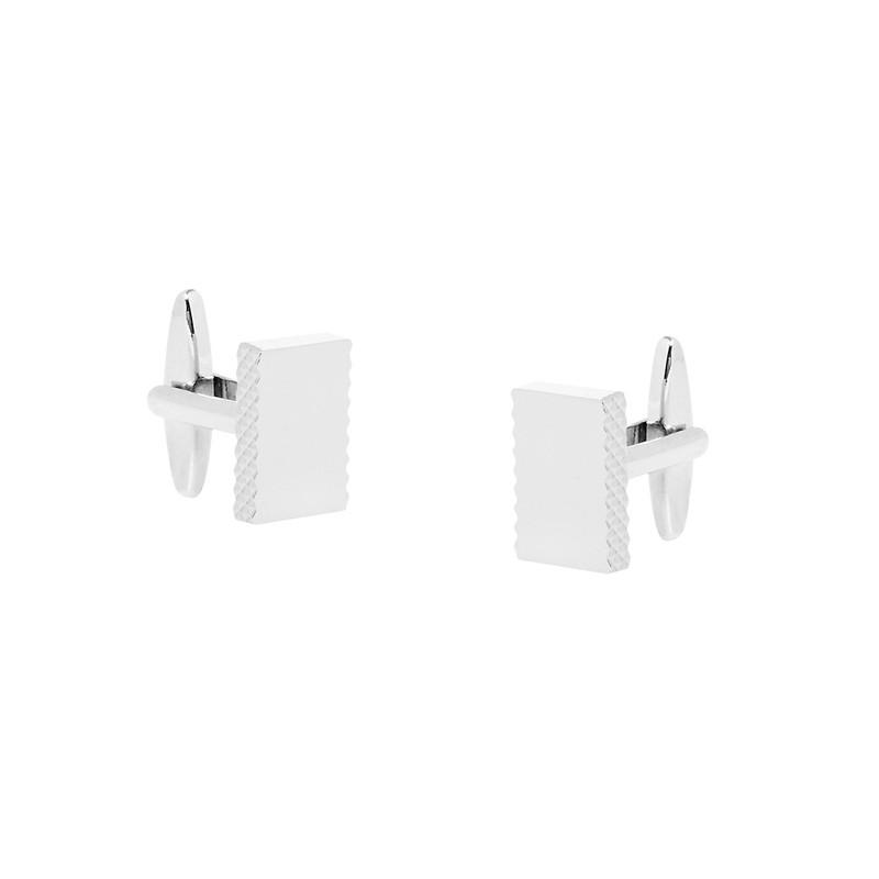 Rectangle Nickel Polished Edge Detail Cufflinks
