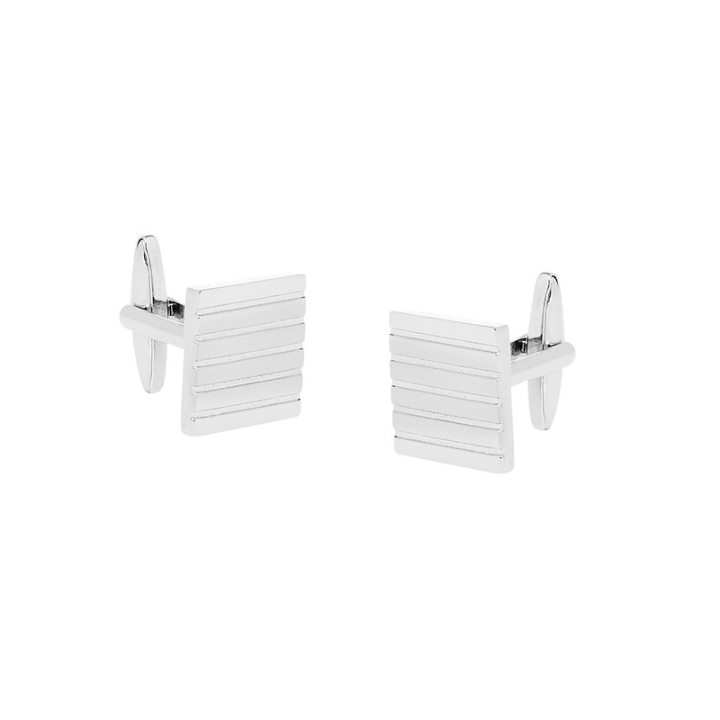 Square Nickel Polished Linear Cufflinks