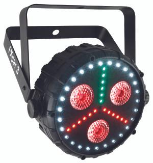 Chauvet DJ FXpar 3 compact par fixture with three 8W Quad-color (RGB+UV) center LEDs, RGB SMD LED light