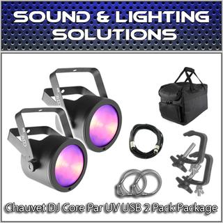 (2) Chauvet COREpar UV USB Blacklight Ultravoilet LED Package