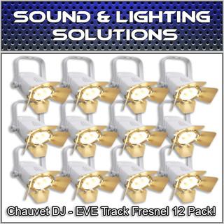 (12) Chauvet DJ EVE TF-20 LED Par Wash Stage Light Fresnel Fixture - White