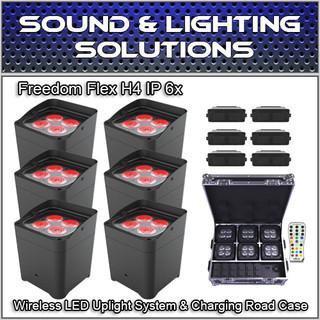 (6) Chauvet DJ Freedom Flex H4 IP 6x Wireless LED Uplight System  & Charging Road Case
