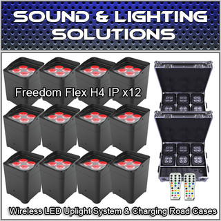(12) Chauvet DJ Freedom Flex H4 IP Wireless LED Uplight System & Charging Cases