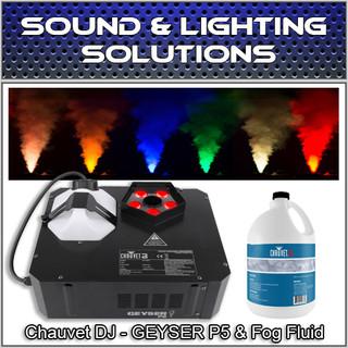 Chauvet DJ GEYSER P5 Fog Machine Fogger w/LED Effects, Remote & Fluid Pkg