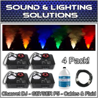(4) Chauvet DJ GEYSER P5 Fog Machine Fogger w/LED Effects, Remote & Fluid Pkg