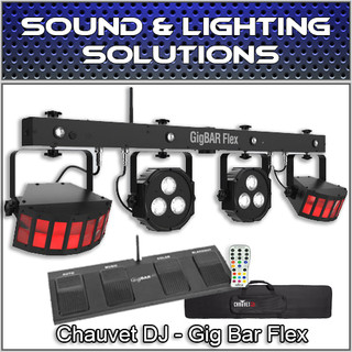 Chauvet DJ Gig Bar Flex 3-in-1 fixture LED Derby, Quad-Color Pars, RGB UV Strobe