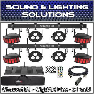 (2) Chauvet DJ Gig Bar Flex 3-in-1 Derby, Quad-Color Pars, RGB UV Strobe Package