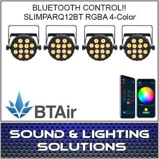 Chauvet DJ SlimPAR Q12 BT Wash Light (RGBA) with built-in Bluetooth BTAir 4 Pack