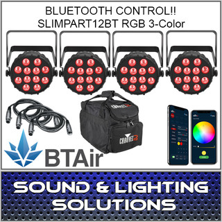 Chauvet DJ SlimPart12BT Four Unit Mobile Pack (RGB) Wash Light with built-in Bluetooth BTAir 4 Pack