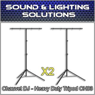 Chauvet DJ CH 03 Heavy-Duty T-Bar Tripod Lighting Stand (2 Pack)