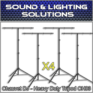Chauvet DJ CH 03 Heavy-Duty T-Bar Tripod Lighting Stand (4 Pack)
