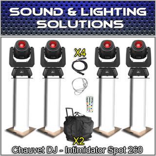 (4) Chauvet DJ INTIMIDATOR SPOT 260 Moving Head Lights, Totem & Case Package