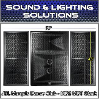 JBL Marquis Dance Club High Power Loudspeaker MD2 MD3R & MD3L Package