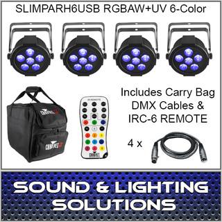 Chauvet DJ SlimPAR H6 USB Hex RGBAW+UV LED 4 Pack w/Extras(PRE-order)