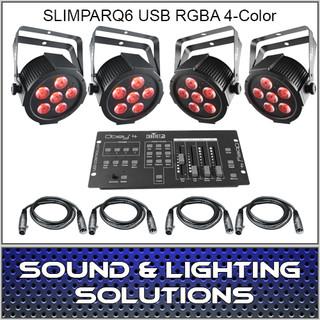 Chauvet DJ SlimPAR Q6 USB 4 PACK + CONTROLLER