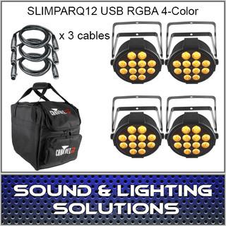Chauvet DJ SlimPar Q12 USB RGBA 4 COLOR LED 4 PACK