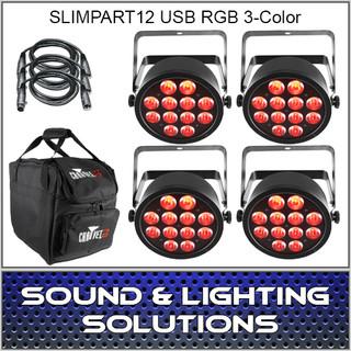 Chauvet DJ SlimPAR T12 USB 4 Pack Mobile RGB 3 Color LED